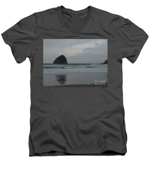 Men's V-Neck T-Shirt featuring the photograph Reflection Of Haystock Rock  by Susan Garren