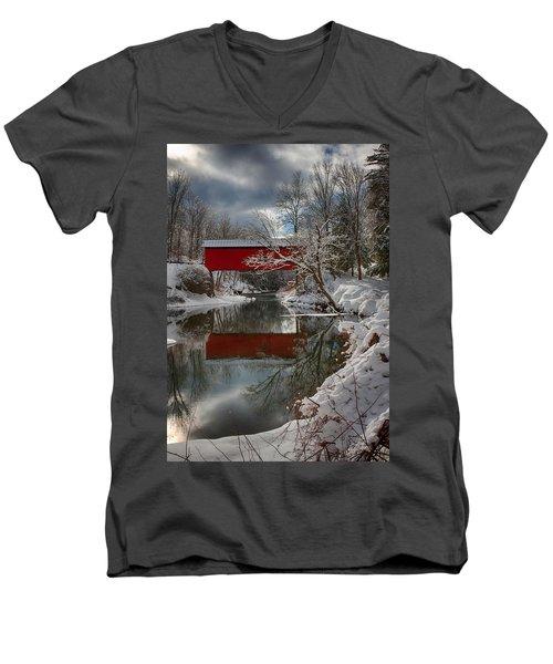 reflection of Slaughterhouse covered bridge Men's V-Neck T-Shirt