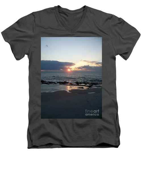 Reflections Cape May Point Men's V-Neck T-Shirt by Eric  Schiabor
