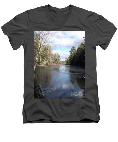 Reflections Caught On Ice At A Pretty Lake In New Hampshire Men's V-Neck T-Shirt by Eunice Miller