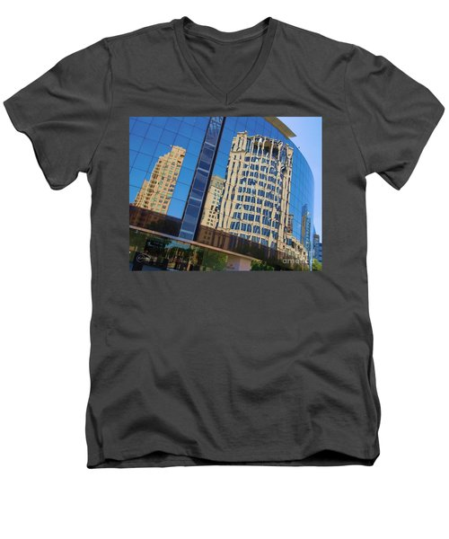Men's V-Neck T-Shirt featuring the photograph Reflections In The Rolex Bldg. by Robert ONeil