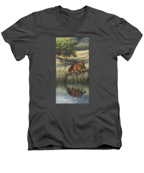 Men's V-Neck T-Shirt featuring the painting Reflections by Kim Lockman