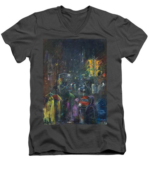 Reflections Of A Rainy Night Men's V-Neck T-Shirt by Leela Payne