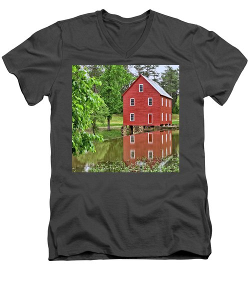 Reflections Of A Retired Grist Mill - Square Men's V-Neck T-Shirt by Gordon Elwell