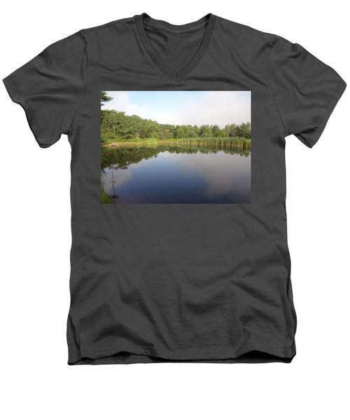 Men's V-Neck T-Shirt featuring the photograph Reflections Of A Still Pond by Michael Porchik