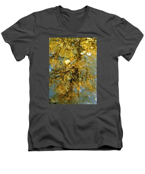 Reflections Of Trees In Gold Men's V-Neck T-Shirt