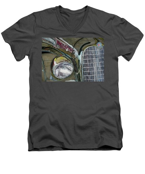 Men's V-Neck T-Shirt featuring the painting Reflections On 1931 Alfa Romeo Milano by Anna Ruzsan