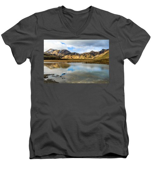 Men's V-Neck T-Shirt featuring the photograph Reflections On Landmannalaugar by Peta Thames