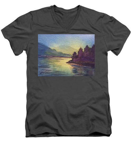 Men's V-Neck T-Shirt featuring the painting Reflections On North South Lake by Ellen Levinson