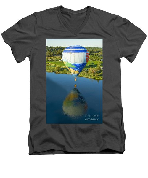 Men's V-Neck T-Shirt featuring the photograph Reflections Over The Dechutes by Nick  Boren
