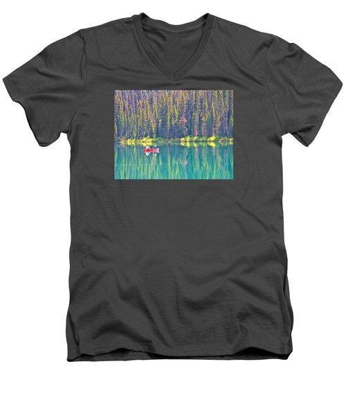 Reflective Fishing On Emerald Lake In Yoho National Park-british Columbia-canada  Men's V-Neck T-Shirt