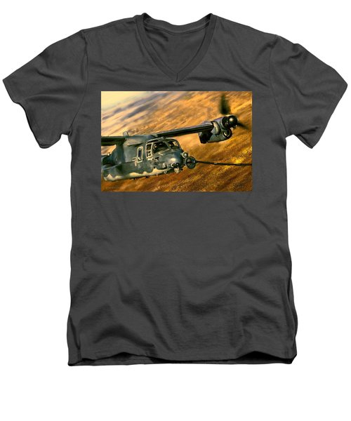 Men's V-Neck T-Shirt featuring the painting Refueling by Dave Luebbert