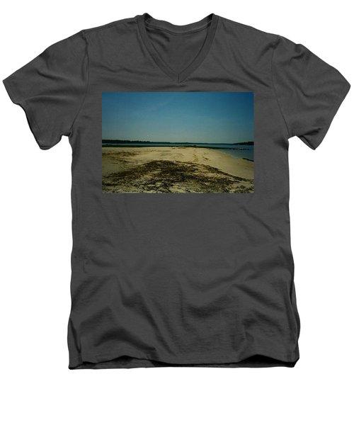 Men's V-Neck T-Shirt featuring the photograph Rehoboth Bay Beach by Amazing Photographs AKA Christian Wilson