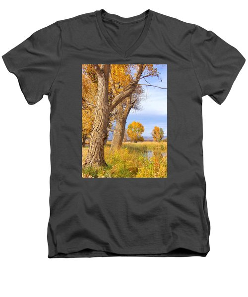 Men's V-Neck T-Shirt featuring the photograph Remembering Autumn by Marilyn Diaz