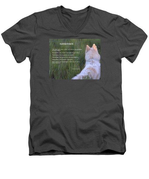 Remember Men's V-Neck T-Shirt by Fiona Kennard