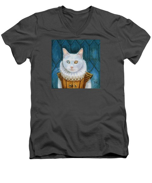 Men's V-Neck T-Shirt featuring the painting Renaissance Cat by Terry Webb Harshman