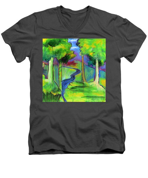 Rendezvous Triptych Men's V-Neck T-Shirt by Elizabeth Fontaine-Barr
