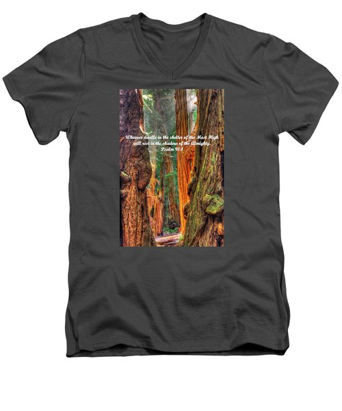 Rest In The Shadow Of The Almighty - Psalm 91.1 - From Sunlight Beams Into The Grove At Muir Woods Men's V-Neck T-Shirt by Michael Mazaika