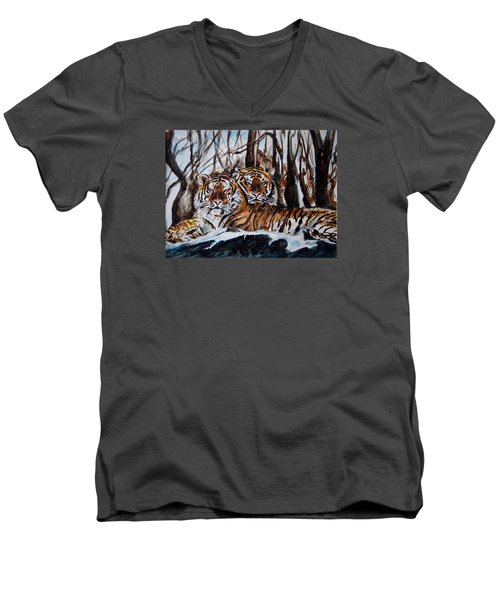 Men's V-Neck T-Shirt featuring the painting Resting by Harsh Malik