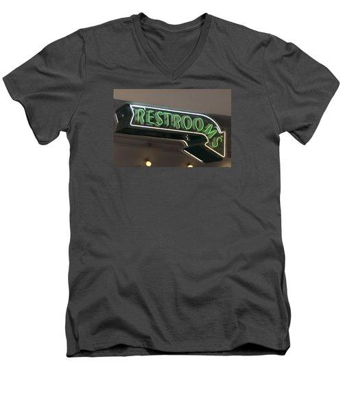 Restrooms In Neon Men's V-Neck T-Shirt