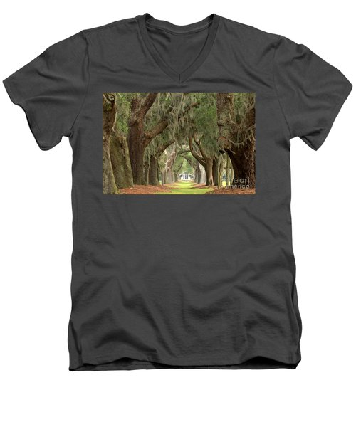 Retreat Avenue Of The Oaks Men's V-Neck T-Shirt by Adam Jewell