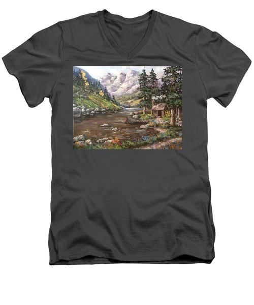 Men's V-Neck T-Shirt featuring the painting Retreat by Megan Walsh