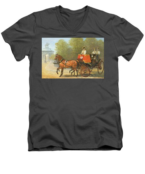Returning From Her Majestys Drawing Room Men's V-Neck T-Shirt by Alfred Corbould