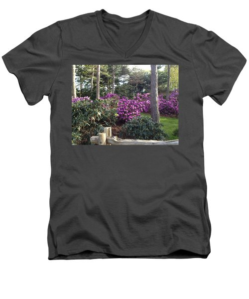 Rhododendron Garden Men's V-Neck T-Shirt by Pema Hou