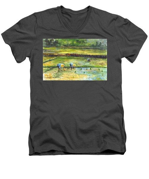 The Rice Paddy Field Men's V-Neck T-Shirt by Carol Wisniewski