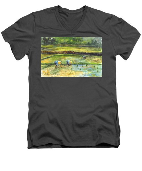 The Rice Paddy Field Men's V-Neck T-Shirt