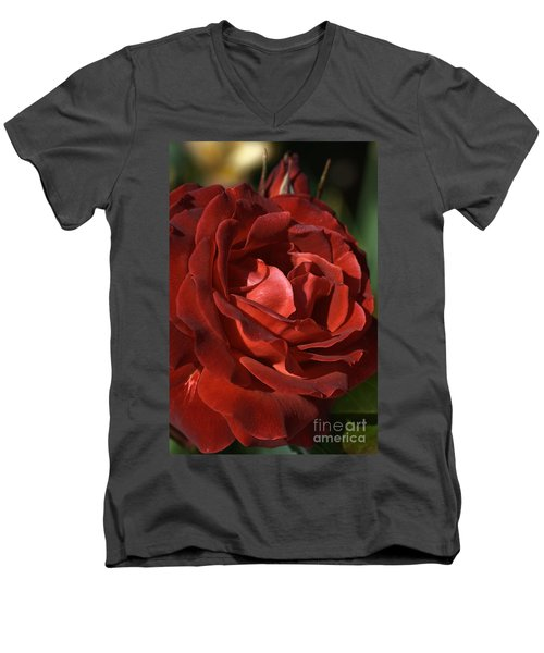 Men's V-Neck T-Shirt featuring the photograph Rich Is Rose by Joy Watson