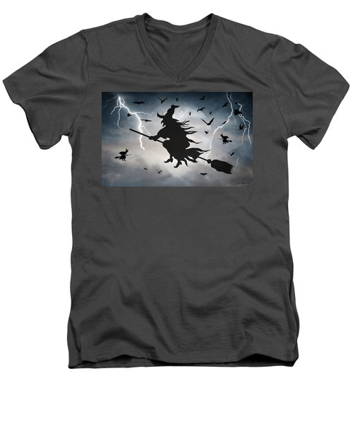 Ride Like Lighting Men's V-Neck T-Shirt by Brian Wallace