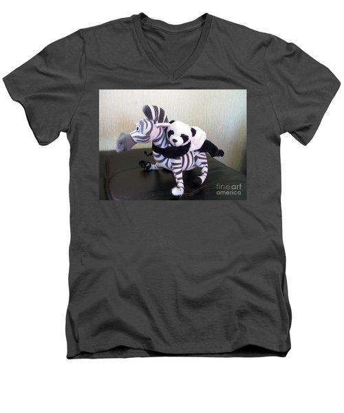 Men's V-Neck T-Shirt featuring the photograph Riding A Zebra.traveling Pandas Series by Ausra Huntington nee Paulauskaite
