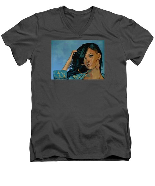 Rihanna Painting Men's V-Neck T-Shirt by Paul Meijering