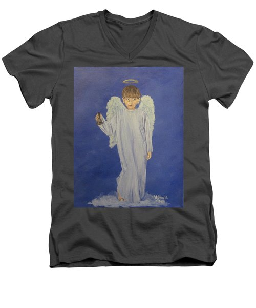 Men's V-Neck T-Shirt featuring the painting Ring-a-ding by Wendy Shoults