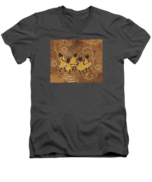 Ring-around-the Rosie Men's V-Neck T-Shirt by Katherine Young-Beck