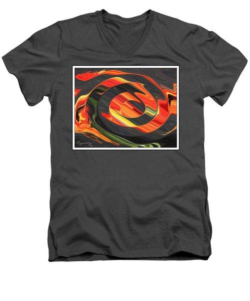 Men's V-Neck T-Shirt featuring the digital art Ring Of Fire by Mariarosa Rockefeller