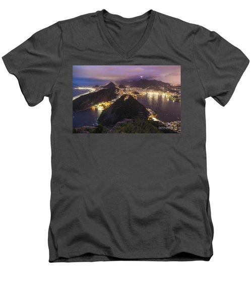 Rio Evening Cityscape Panorama Men's V-Neck T-Shirt