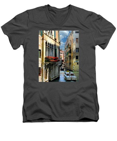 Men's V-Neck T-Shirt featuring the photograph Rio Menuo O De La Verona. Venice by Jennie Breeze