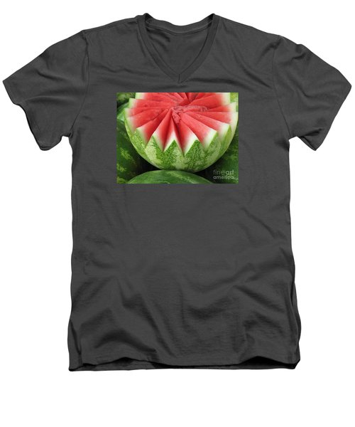 Ripe Watermelon Men's V-Neck T-Shirt by Ann Horn