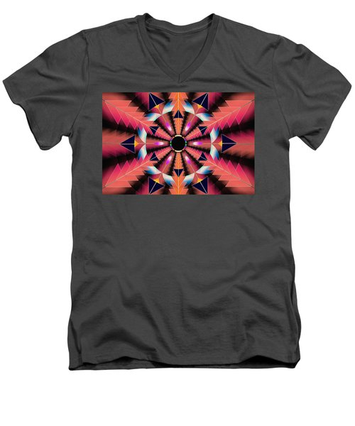 Men's V-Neck T-Shirt featuring the drawing Rippled Source Of Light by Derek Gedney