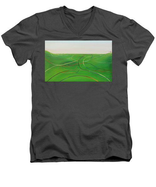 Men's V-Neck T-Shirt featuring the painting Ripples Of Life 1 by Tim Mullaney