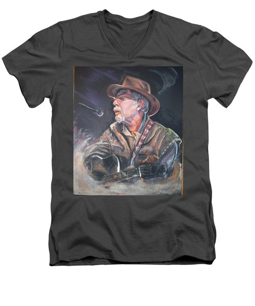 Men's V-Neck T-Shirt featuring the mixed media Rising Out Of The Sands Of Time by Peter Suhocke