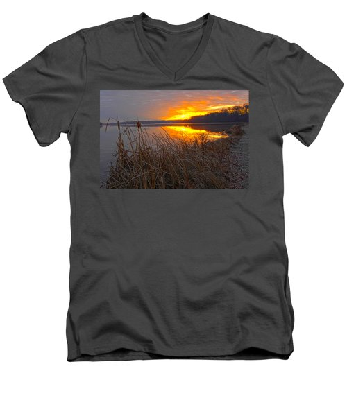 Men's V-Neck T-Shirt featuring the photograph Rising Sunlights Up Shore Line Of Cattails by Randall Branham