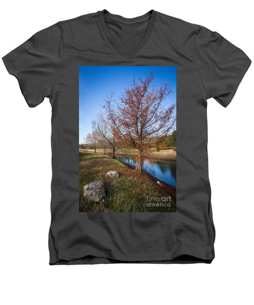 Men's V-Neck T-Shirt featuring the photograph River And Winter Trees by John Wadleigh