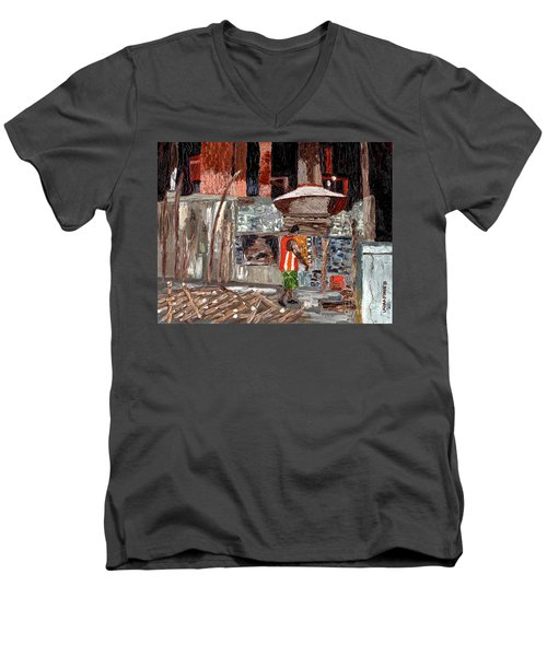Men's V-Neck T-Shirt featuring the painting River Antoine Rum Distillery by Laura Forde