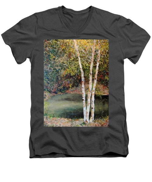Men's V-Neck T-Shirt featuring the painting River Birch by Alan Lakin