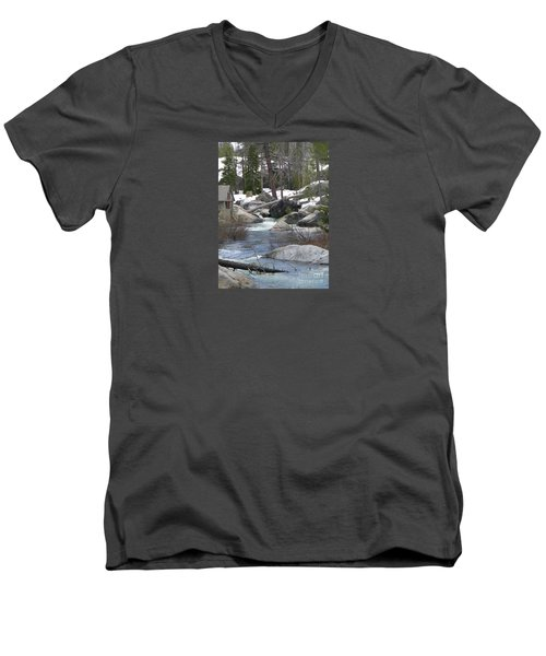 Men's V-Neck T-Shirt featuring the photograph River Cabin by Bobbee Rickard