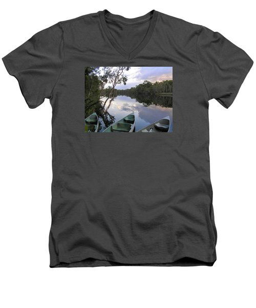 Men's V-Neck T-Shirt featuring the photograph River Cruise by Dreamland Media