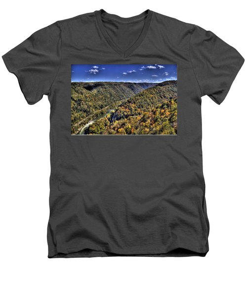 River Running Through A Valley Men's V-Neck T-Shirt